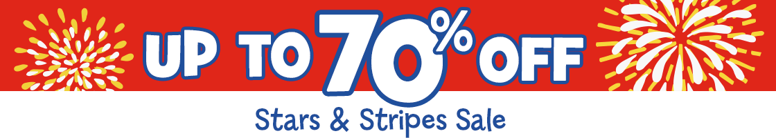 Save up to 70% OFF during our Stars & Stripes Sale!