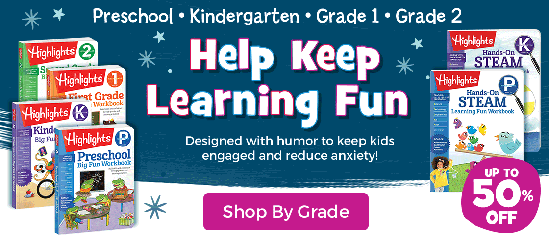 Highlights Learning helps keep learning fun for preschool, kindergarten, first grade and second grade.