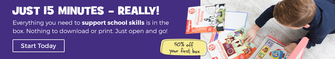In just 15 minutes a day, you can boost school skills with our subscription box.
