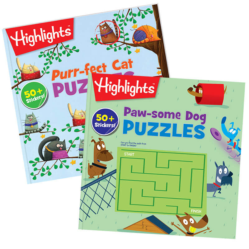 Paw-some Dog Puzzles and Purr-fect Cat Puzzles 2-Book Set