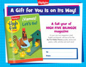 High Five Bilingüe Certificate Anytime Gift Announcement