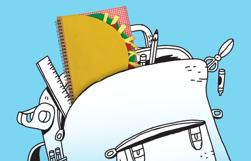 Taco Notebook in Backpack