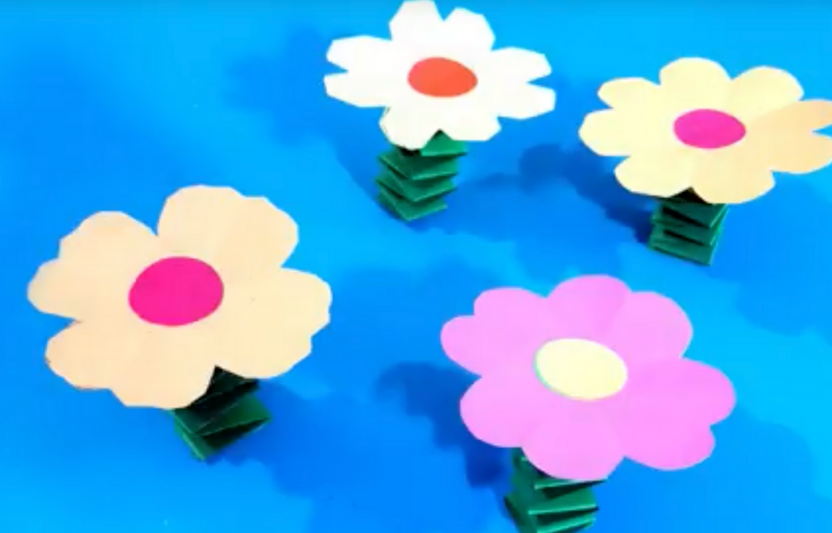 Have a blast cutting and putting together the different pieces to construct this paper craft! Kids will love to watch their flowers bloom as they spring up and down.
