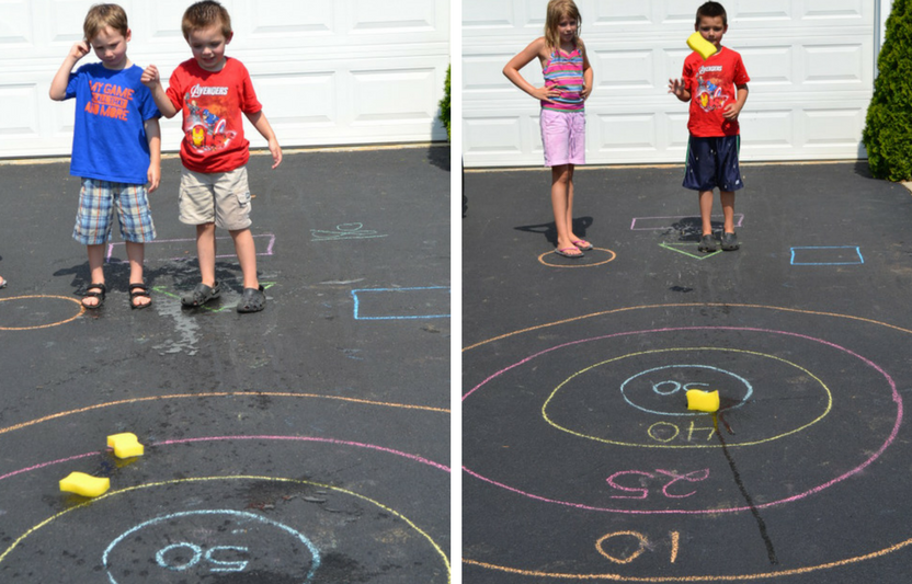 Use chalk to draw targets in your driveway, then let your kids go wild with wet sponges!