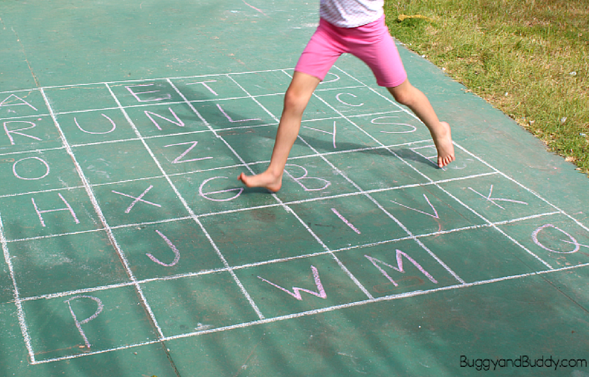 This simple chalk grid alphabet is great for helping little ones learn letters, practice spelling, and more.