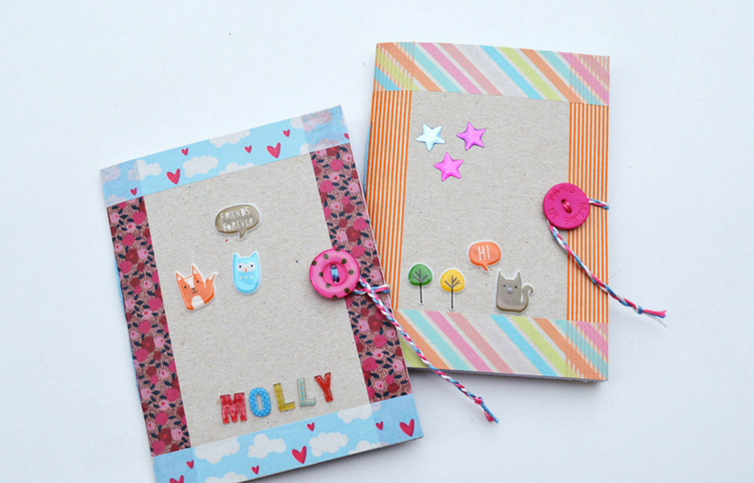 Use the cardboard from a cereal box to create these simple mini-notebooks.