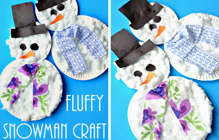 This soft, cottony paper plate snowman is the perfect craft for a toddler.