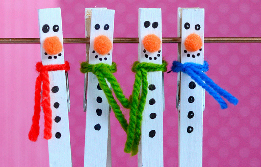 Add a magnet on the back of these cute clothespins and use them to hold up your child's artwork on the refrigerator!