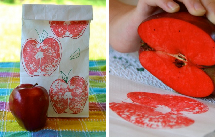 Use a sliced apple to spice up boring lunch bags!