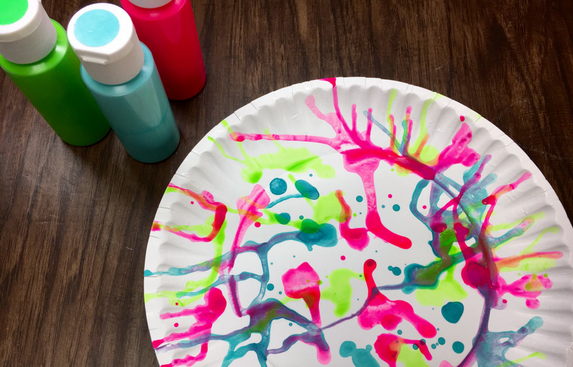 paper plate spin art