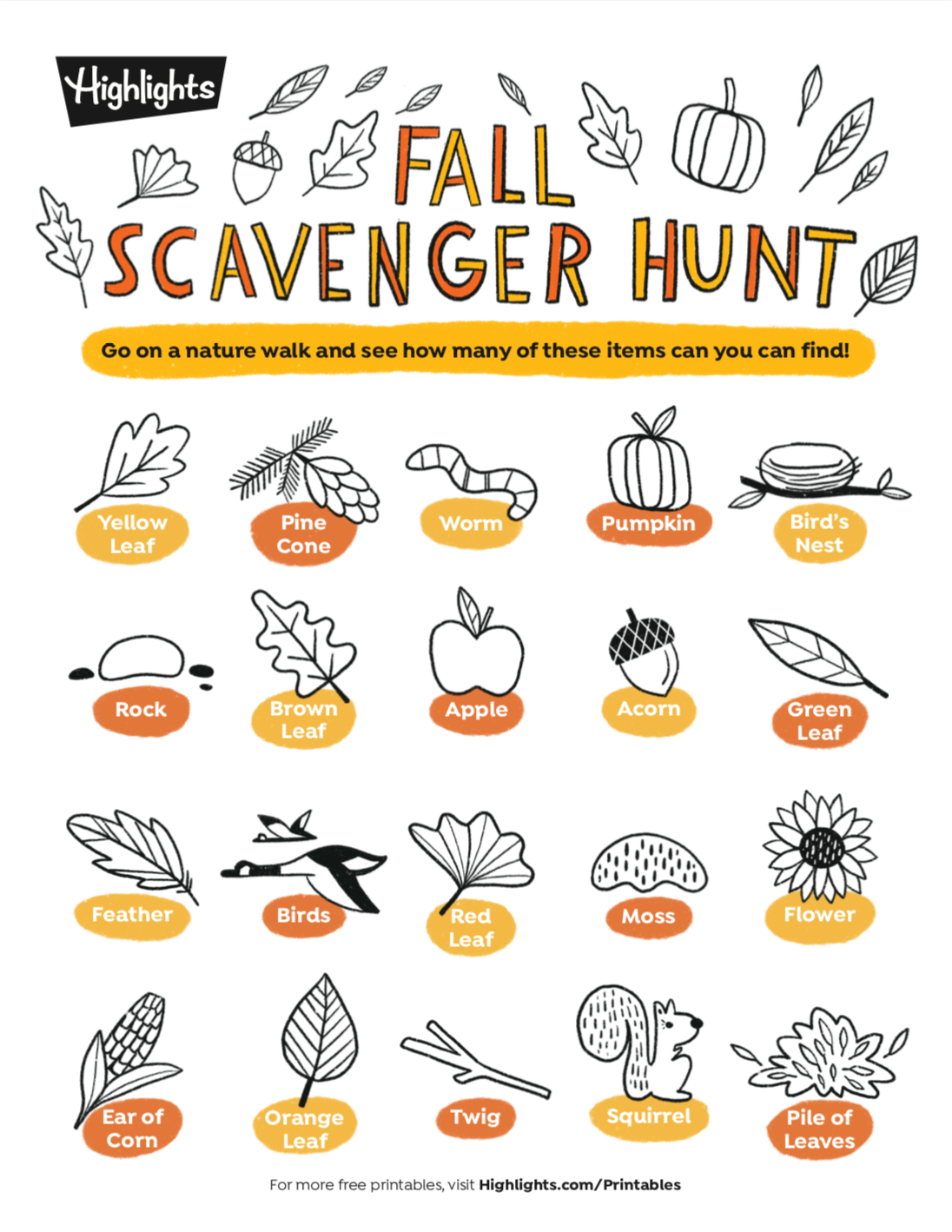 Fall Scavenger Hunt Printable