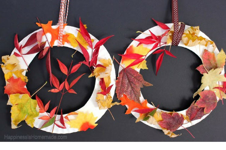 This festive wreath can be made with real or paper leaves.