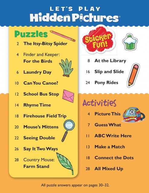 A variety of hidden objects puzzles perfect for little ones ages 3 to 6
