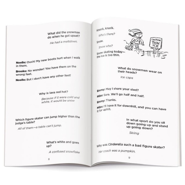 Pages of winter-themed jokes with illustration