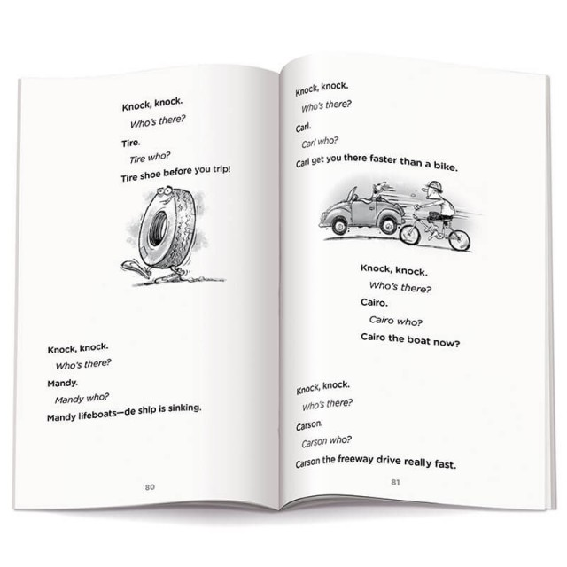More vehicle-related knock-knock jokes and 2 illustrations