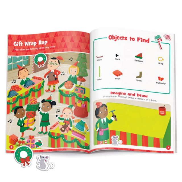Pages of a Christmas-themed scene with stickers and accompanying drawing activity