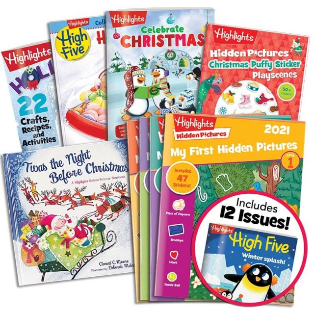 Deluxe Christmas Gift Set with 5 books, My First Hidden Pictures 2021 4-book set and High Five magazine
