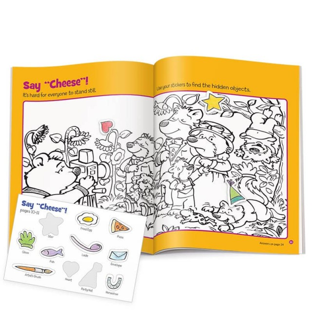 Two-page puzzle scene of bears with sticker sheet