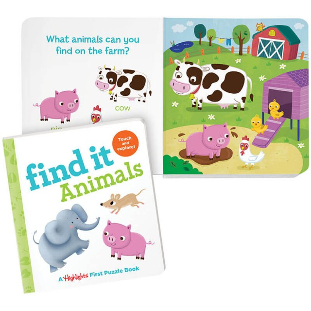 Find It Animals book and barnyard scene