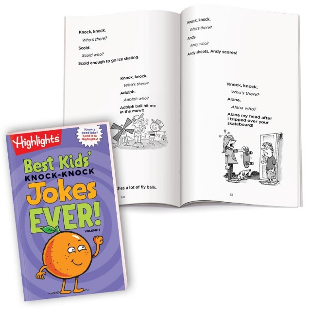 Best Kids' Knock Knock Jokes Ever Volume 1 book with pages of sports-themed jokes and illustrations