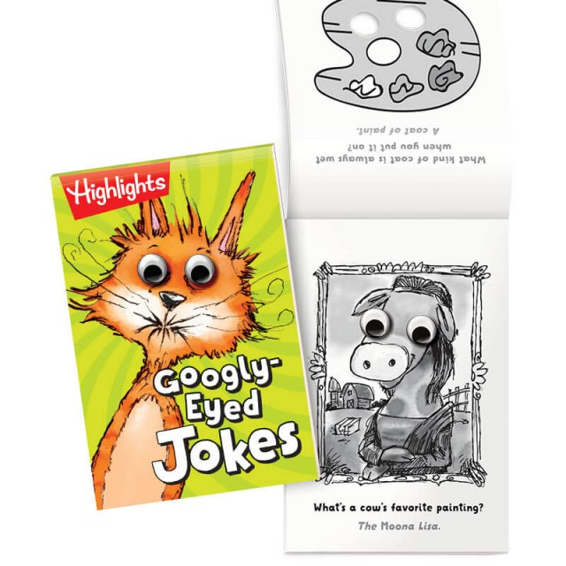 Googly-Eyed Jokes book with pages of jokes and illustrations with googly eyes