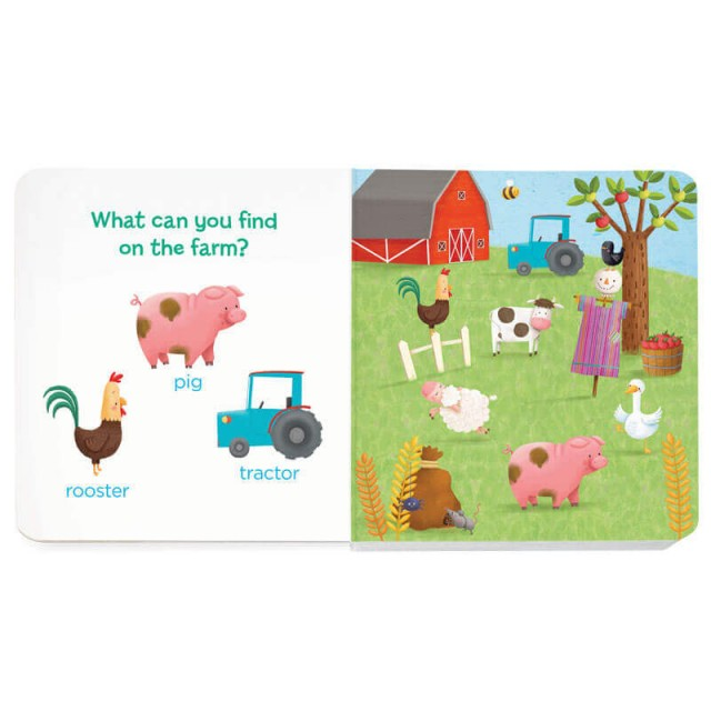Farm scene with pig, rooster and tractor to find