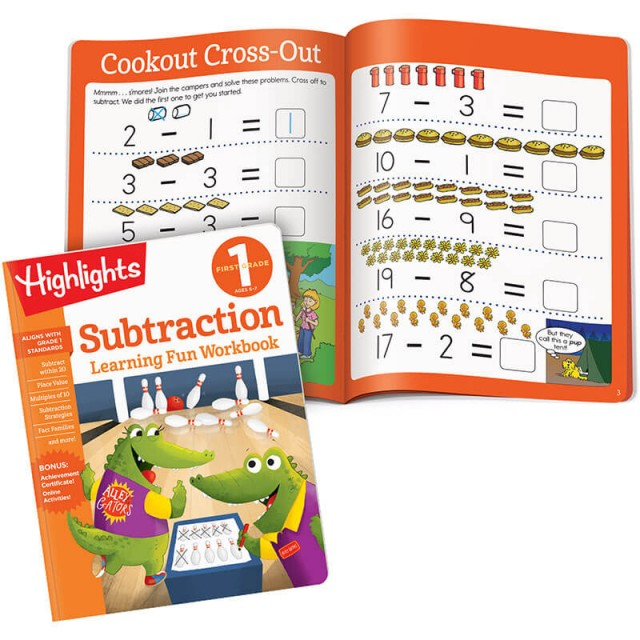 Learning Fun Workbook for Subtraction plus subtraction lesson and puzzle