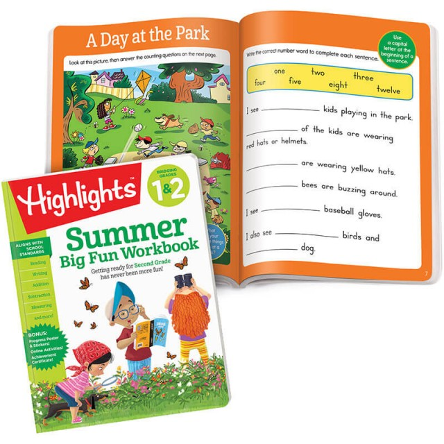 Summer Big Fun Workbook and a scene with items to count