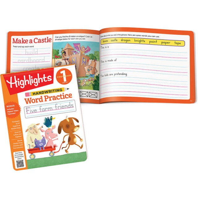 Handwriting Word Practice pad and cardboard castle puzzle with space to practice writing