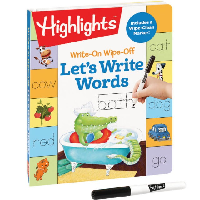 Let's Write Words book with dry-erase marker