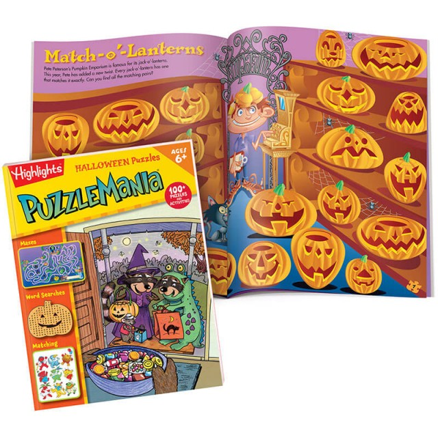 Puzzlemania Halloween Puzzles book and a matching puzzle with jack-o-lanterns