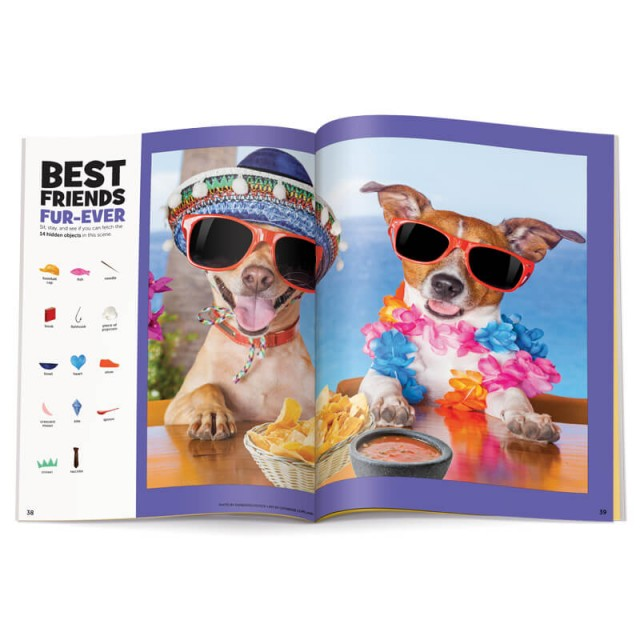 A photographic puzzle scene of 2 dogs at a fiesta