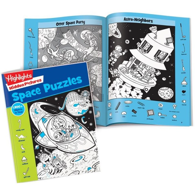 Hidden Pictures Space Puzzles book with Otter Space Party and Astro-Neighbors scenes