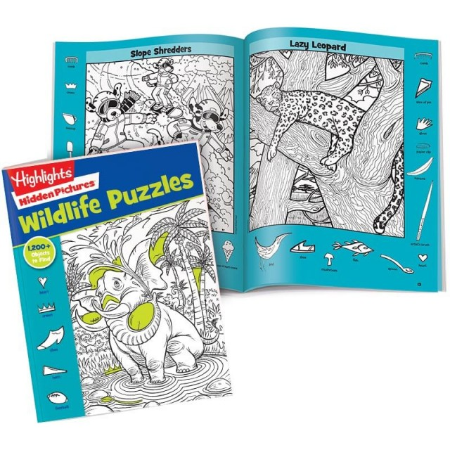 Hidden Pictures Wildlife Puzzles book with Slope Shredders and Lazy Leopard scenes