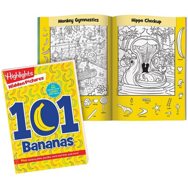 Hidden Pictures 101 Bananas book with pages of animal-themed scenes