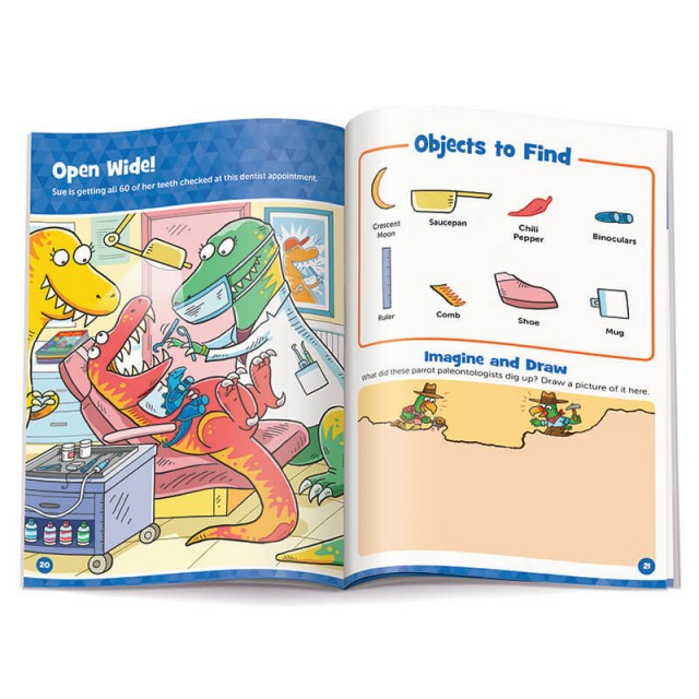 Dinosaur dentist Hidden Pictures scene and drawing prompt