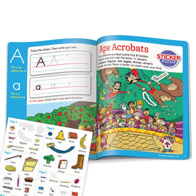 Learning letter A with stickers and Hidden Pictures puzzle