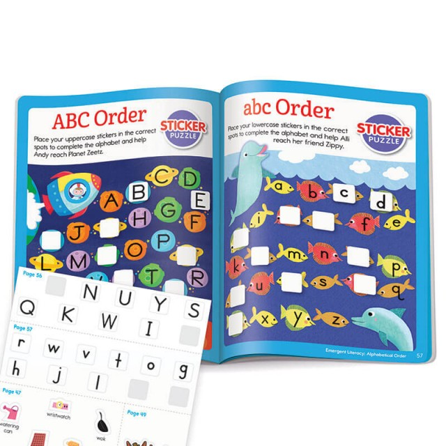ABC order practice pages with stickers