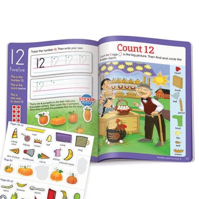 Learning number 12 with stickers and Hidden Pictures puzzle