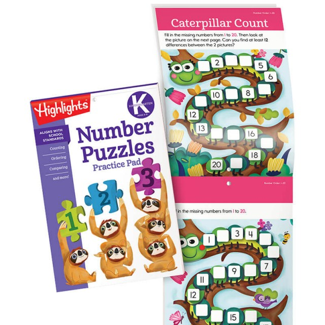 Number Puzzles Practice Pad and a spot-the-differences game with numbers