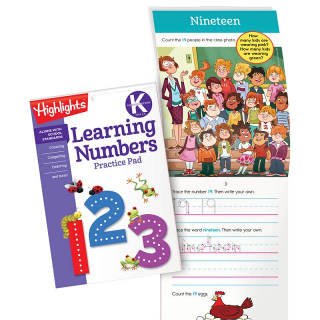 Learning Numbers Practice Pad and practice page for number 19