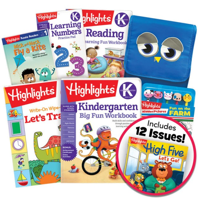 Deluxe Back-to-School Success Pack, Kindergarten with 5 books, lunch tote, pencil toppers kit and magazine subscription