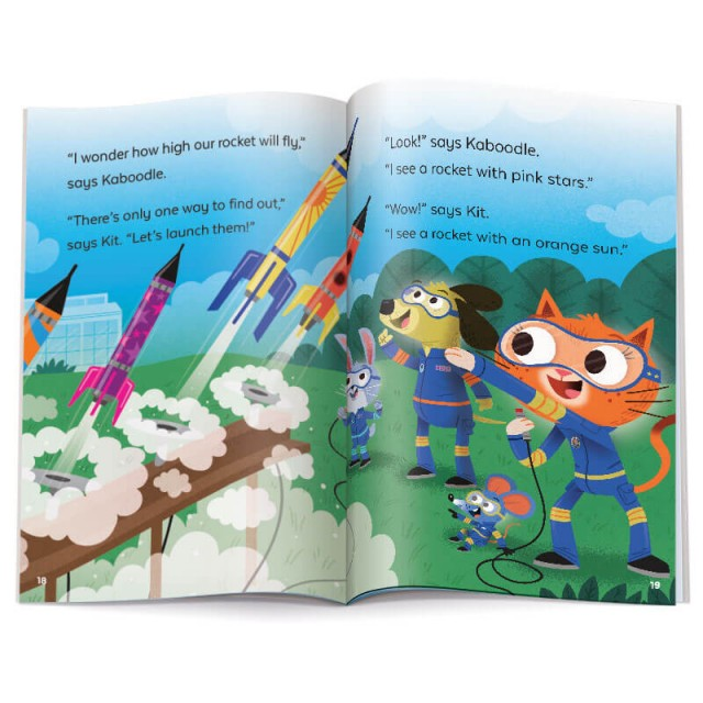 Two-page spread with story text and illustration of model rockets launching