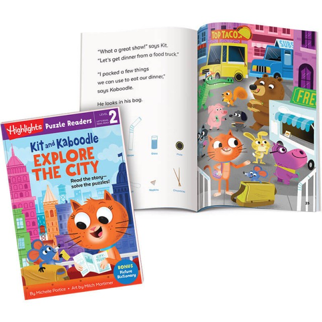 Kit and Kaboodle Explore the City book, with story page and food truck Hidden Pictures scene