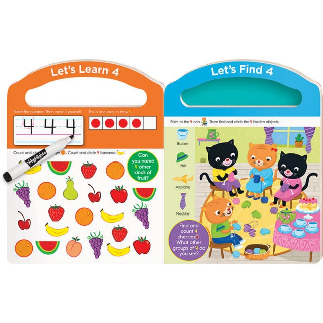 Practice pages for number 4 with counting game and Hidden Pictures puzzle