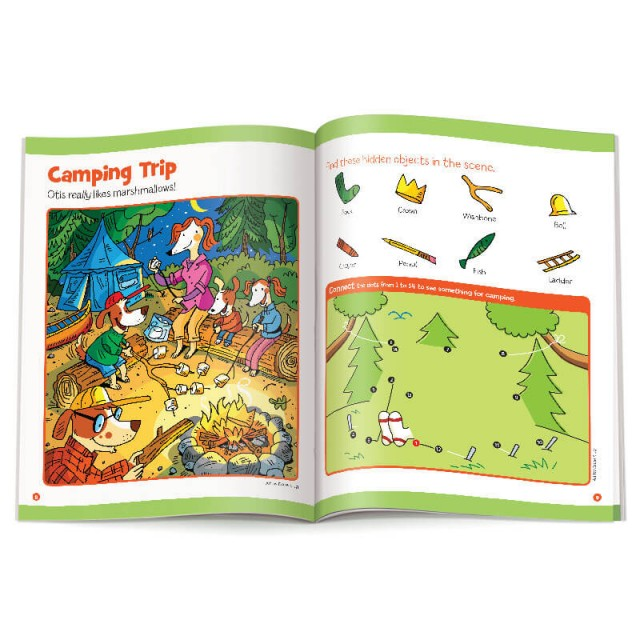 Camping Trip Hidden Pictures scene and dot-to-dots puzzle