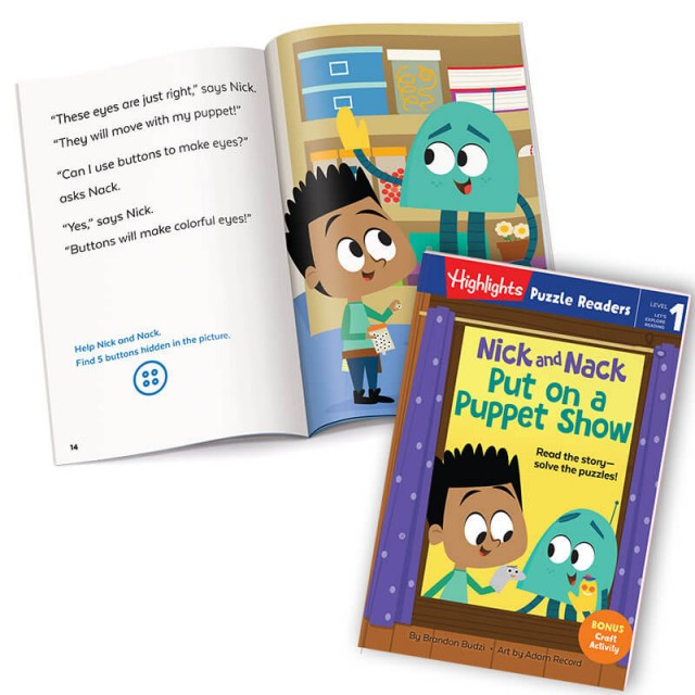 Nick and Nack Put on a Puppet Show book, with story page and home storage area scene