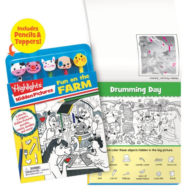 Fun on the Farm Pencil Toppers kit and Drumming Day puzzle