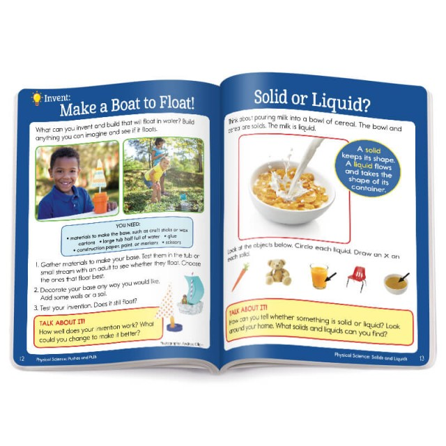 Pages of physical science learning activities with instructions for a boat craft