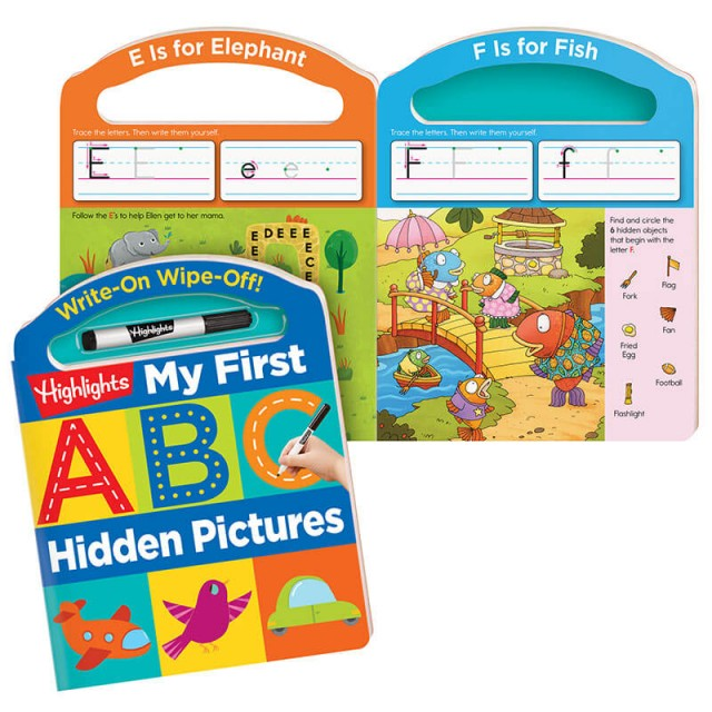 Write-On Wipe-Off: My First ABC Hidden Pictures book with letters E and F and dry-erase marker
